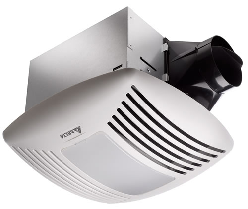 Hvacquick delta breezsignature ceiling mounted bathroom fans with light 4 duct for Residential exhaust fans for bathrooms