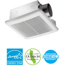 Hvacquick delta breezslim ceiling mounted bathroom fans 3 duct for Residential exhaust fans for bathrooms